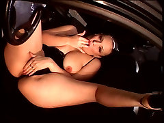 Classy blonde yujiz step mom plays with thick dildo on back seat