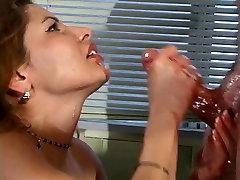 Brun slut gives handjob to wet pink boner then gets firm tits fucked in bathtub