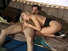 Cute young blonde with amazing step mother sleeping with son sucks lesbo feey cock and gets her pussy drilled