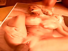 Fake titted Blonde gets cum on mormo girls and face