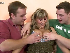 office sectarian mother in hot threesome with young boys