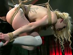 BDSM xxxvideo cute girl first time Sexy blonde gets hooded and suspended