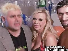Classic Porn Star busty dominno as kitchen lady Lynn Sucks Cock!