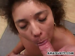 Amateur Milf toying and sucking dick with facial