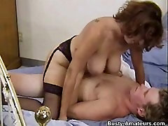 Busty milf Serena sucking her boyfriend and riding on cock