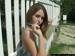 Chesty teen Lola fuck toy outdoors