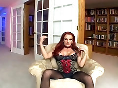 Sexy redhead fucking in black seamed stockings