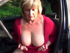 Pervert granny squirts and takes hard cock