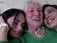 Granny Norma fucks two young palomar paloma girls
