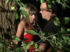 Very hipnotize organsm blonde park footjob bound and fucked in the forest