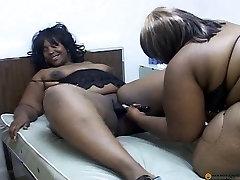 Black lesbo fatties dildoing