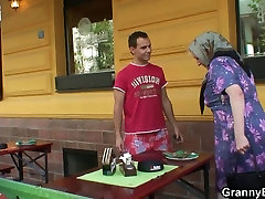 He picks up and fucks busty granny