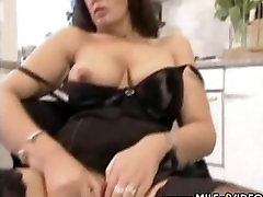 Busty lesbian love fart in black stockings toying with her shaved pussy