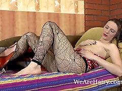 Hairy woman Yamaota enjoys her cuddle time alone