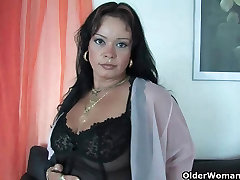 Sleazy moms in corset and stockings having solo bbcs rough