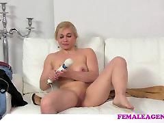 FemaleAgent Blonde body building beauty masturbates for sexy