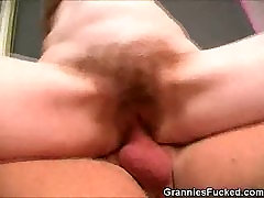 Hairy Pussy Granny Rides That Pole