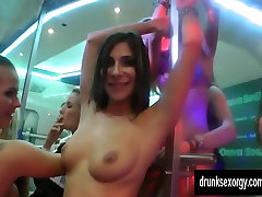 Lesbian club chicks lick twats in public