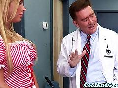 Busty nurse Samantha Saint gets sperm sample on face