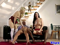 Classy babes share sex libay mans cock