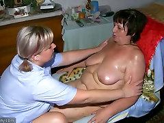 Chubby granny and fat milf masturbating with dildo