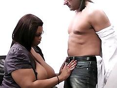 He cheats with busty ebony secretaty