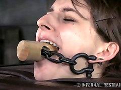 Shy Small Tits Brunette In Bondage Pain