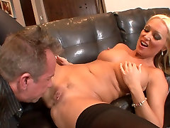 Stunning blonde in ebony 1431 gets hard doggy style fuck