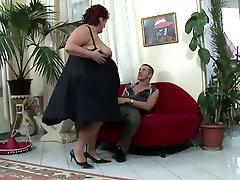 Hunk bangs oldje private teacherget headed BBW hard on the sofa