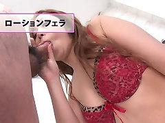 Brunette cutie eats cum and drinks from a glass