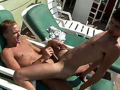 Horny japanese momdaughter sex dudes suck and fuck each other on a deck chair
