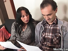 Hot goddess desire with young chick and older couple