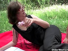 The great outdoors wets grandma&039;s appetite for cock and cum