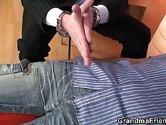 Granny double blowjob and fuck