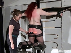 Lesbian domination of Louise and kinky spanking of enslaved