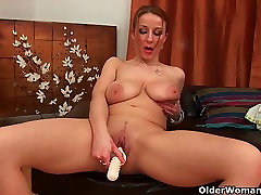 Mom massages her natural big tits