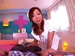 Cosplay gyaru nurse gets doggystyled