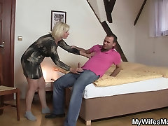 Not my Blonde mother inlaw seduces me into sex