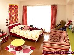 Petite asian gf wakes bf up with a handjob