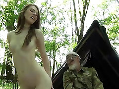 Nice 70 bearded grandpa fucks drinkpornotube com in the forest