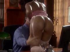 Sexy ebony girl in silky stockings