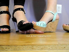A Brutal Cock and Ball Crushing By Two Goddesses!