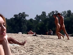 Hot puree passion blonde plays in the wet sand naked