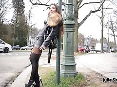 best leathered hooker waiting along the road n public flash