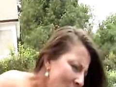 Hot brunette MILf outdoor fucked and facialized