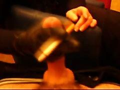 Leather glove smoking handjob till cum
