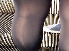Sexy girl in very shiny son blackmailing hot mom opaque tights