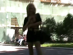 Naughty in clinic school japanese Blonde gal flashing her pussy in public