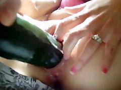 Beautiful boy sex in big sister masturbating with a cucumber