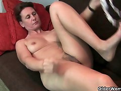 Grandma&039;s hairy pussy gets the finger treatment